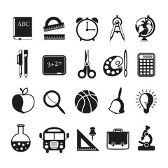 school icons set on white background.