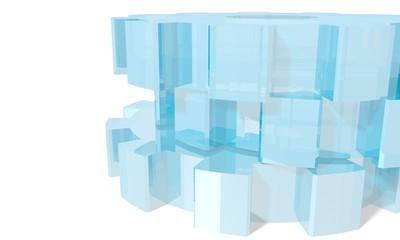 blue glass gears