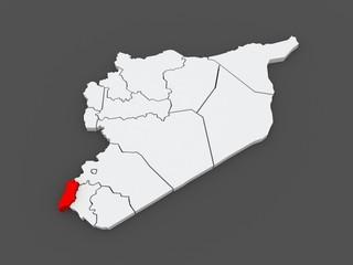 Map of Quneitra. Syria.