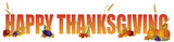 Fototapety Happy Thanksgiving Text with Fruits and Vegetable Illustration