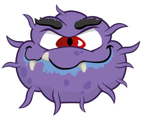 Cartoon of a microorganism virus, alien or monster