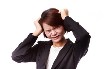 Asian business woman frustrated and stressed pulling her hair