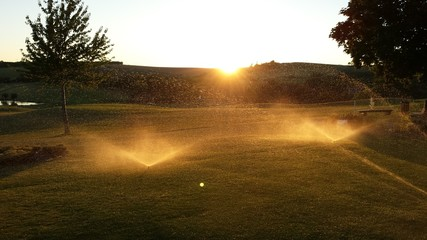 Water irrigation at golf course