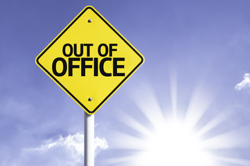 Out of Office road sign with sun background