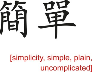 Chinese Sign for simplicity, simple, plain, uncomplicated
