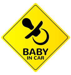 Baby in car sign vector (2)