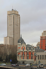 "Street Bailen and ""Madrid tower"". Madrid, Spain"