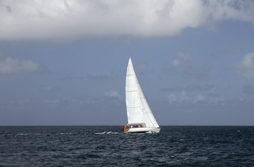Sailing yacht in sea. Saint Lucia