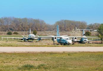 Cemetery aircraft near the runway