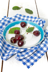 Ripe cherries for dessert