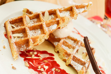 belgian waffles with raspberry jam