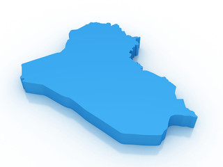 3d rendering of Iraq map on a white background