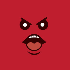 Angry face yelling with red background