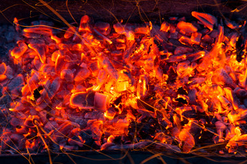 Campfire with burning firewood on foreground closeup