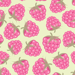 Seamless pattern with pink raspberry