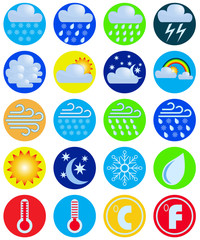 Set weather icons. Vector drawing.
