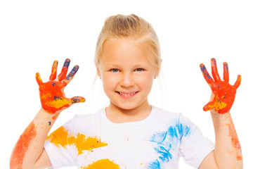 Blonde little girl shows painted palms