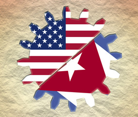 usa and cuba flags in gear