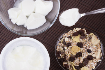 Homemade yogurt with muesli