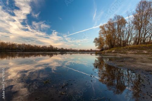 Foto op Canvas landscape sunset on the river