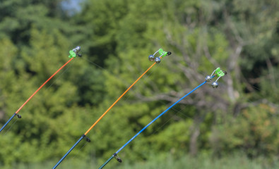 stretched fishing line of fishing rod