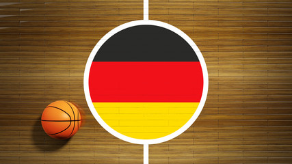 Basketball court parquet floor center with flag of German