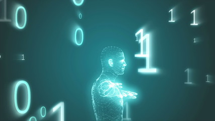 Vitruvian man graphic with binary code animation