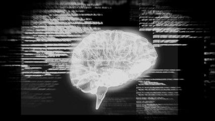 Revolving brain graphic with interface animation
