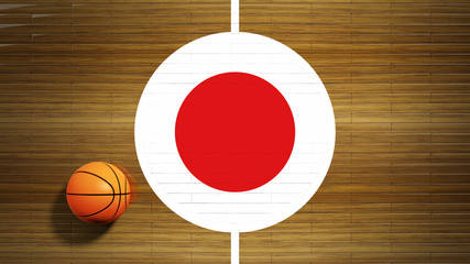 Basketball court parquet floor center with flag of Japan