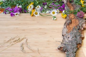 Flowers on old bark, rustic