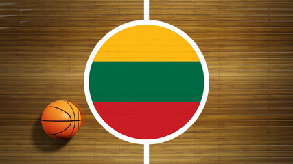 Basketball court parquet floor center with flag of Lithuania
