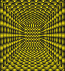 Background in yellow with rows of abstract hexagonal