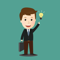 Vector of businessman get idea