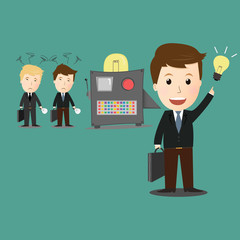 Vector of idea maker machine with businessman.