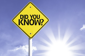 Did you Know? road sign with sun background