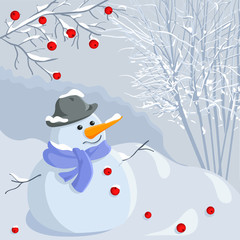 vector  Christmas winter snowman with a landscape