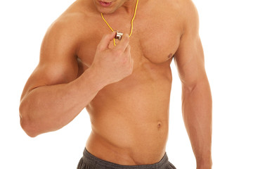 man body with whistle no shirt read to blow
