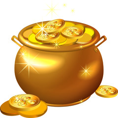 vector St. Patrick`s Day gold pot with coins