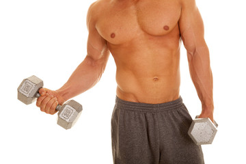 man no shirt weights curl one showing body