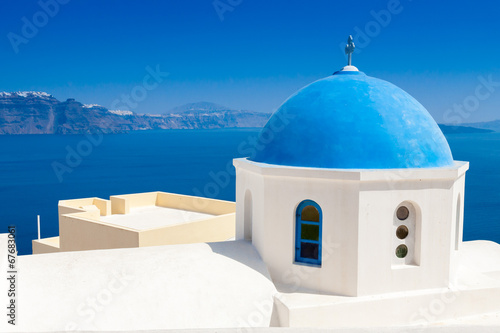 canvas print picture Blue dome church, Oia village, Greece