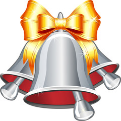 Vector silver jingle bells with gold bow.