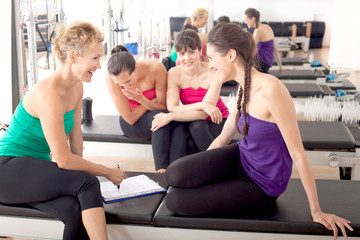 Women relaxing in the gym after training