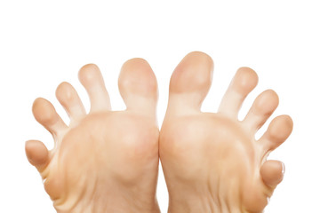 spread fingers on the nice ladies' foot