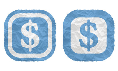 two frames with texture crumpled paper and dollar symbol