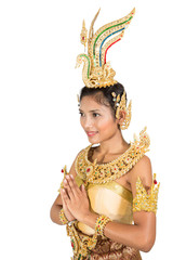 Thai dancer with traditional greeting