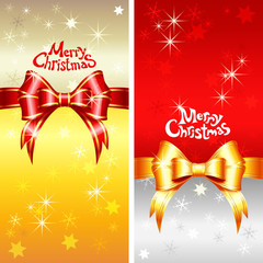 Vector greeting card with Christmas ribbons, bow and snowflakes