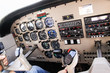 Airplane navigational controls. - 67684203