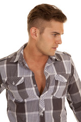 man plaid shirt stand close look side