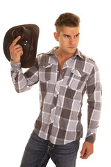 man plaid shirt western hat inhand look side