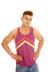 man puple tank top hands hips looks serious
